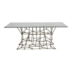"""Worlds Away - Worlds Away Silver Leaf Iron Dining Table MOLECULE DINS72 - Silver leaf iron dining table with rectangular 42"""" x 72"""" glass top."""