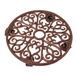 None - Large Scrollwork Design Cast Iron Plant Trolley - This large antique cast iron round plant trolley is designed with elegant scroll work and four wheels. Perfect for plants you want to move frequently or simply want off the ground.