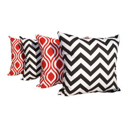 Land of Pillows - Chevron Black and Nicole Rojo Red and White Outdoor Throw Pillows - Set of 4, 16 - Fabric Designer - Premium Home Decor