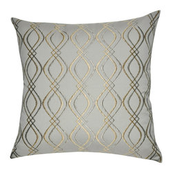 "Loom and Mill - Loom and Mill P0046-2020P 20"" x 20"" Gold Wavy Decorative Pillow - Also inspired by classical design, this embroidered decorative pillow, with its twists and turns, is a great way to add movement and elegance to your home. Spot clean only."