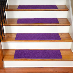 Dean Flooring Company - Dean Non-Slip, Pet Friendly, Carpet Stair Treads - Grape Purple (15) - Quality stylish ultra premium stair gripper non-slip carpet stair treads by Dean Flooring Company. Extend the life of your high traffic hardwood stairs. Reduce slips/increase traction. Cut down on track-in dirt. Great for pets and pet owners. Made in the USA from quality, long lasting stain resistant carpeting with non-slip padded foam backing. Stands up great to high traffic. A fresh new look for your staircase. Do-it-yourself installation is quick and easy with our unique non-slip backing. Simply place your stair tread rugs on your staircase and go. No tapes, adhesives, staples, glue, or Velcro needed. And rest assured, they won't move and they won't damage your hardwood either. They are also simple and easy to remove as well with no sticky residue left behind. Each tread is bound with color matching binding tape. No bulky fastening strips. You may remove your treads for cleaning and re-attach them when you are done. Add a touch of warmth and style to your stairs today with new stair treads from Dean Flooring Company! We make our own stair treads at Dean Flooring Company and our products are not available from anyone else.