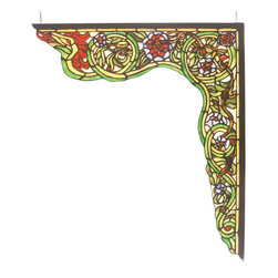 Meyda Tiffany - Meyda Tiffany Serpent Right Corner Bracket Window X-22256 - From the Serpent Collection, this Meyda Tiffany right corner bracket window features beautiful whirling and swirling complimented by vivid shades of green and yellow. Red and plum accents add visual interest. Designed to be paired with the Meyda Tiffany left corner bracket.