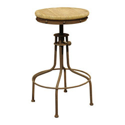 Kathy Kuo Home - Clint Industrial Loft Architects Wood Swivel Bar Counter Stool - Add a new spin to your bar or kitchen island with this vintage-looking stool. It pairs a reclaimed wood seat with an antique-rust metal base for a look that's rustic and refined.