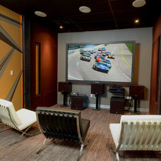 Contemporary Home Theater by CF + D custom fireplace design