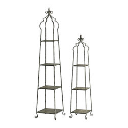 "Cyan - Blanca Storage Stands, Set of 2 - - Set of 2. - Small: 11.25""Wx11.25""Dx52.5""H- Large: 14.75""Wx14.75""Dx70""H.- Weight: 30.2 lbs."
