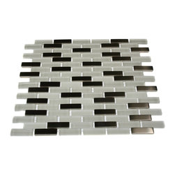 """GlassTileStore - Ice Cave 1/2x2 Brick Pattern Metal & Glass Tile - LOFT ICE CAVE 1/2X2 BRICK PATTERN GLASS TILE  This striking blend of glass and stainless steel creates a sleek and attractive design for any room. Add a pop to any room with these beautiful tiles that are versatile; great to use for a backsplash for a kitchen, bathroom or any decorated room. The mesh backing not only simplifies installation, it also allows the tiles to be separated which adds to their design flexibility.      Chip Size: 1/2"""" x 2""""   Color: Super White and Stainless   Material: Glass and Stainless Steel   Finish: Polished, Frosted, and Matte   Sold by the Sheet - each sheet measures 12"""" x 12"""" (1 sq. ft.)   Thickness: 8mm       - Glass Tile -"""