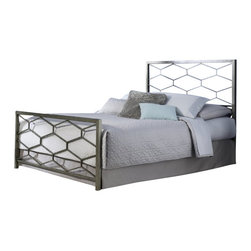 Fashion Bed - Fashion Bed Camden Bed in Golden Frost-Queen size - Fashion Bed - Beds - B11A25 - The Camden Bed offers a clean, sharp, unique look that quickly updates and changes your space. With square metal rails and posts and a fresh geometric design, the Camden Bed complements your contemporary decor with high-class style. The Camden Bed is finished in golden frost, a silvery base with gold-toned, hand applied sponging which creates a richly aged finish that complements its graceful lines. The Camden Bed is available in full, queen, and king sizes to accommodate any bedroom.
