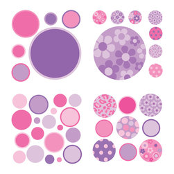 "WallPops - Purple/Pink Gone Dotty Minipops Wall Decal - Glam up a wall with these super fun WallPops dots in different sizes. Featuring a fabulous combination of polka dots in pink and purple, floral and leopard patterns, this wall art kit is perfect for a girly style. Gone Dotty - Purple/Pink WallPops come on four 13"" x 13"" sheets and are repositionable and totally removable."