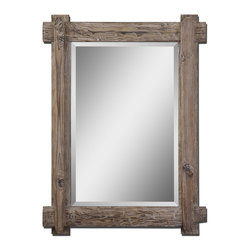 Uttermost - Claudio Wood Mirror - Rustic craftsmanship and a light stain give this frame, designed by Grace Feyock, its incomparable natural charm. The thickly beveled mirror inside is the perfect complement to make a striking statement in your favorite setting.