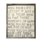 Kathy Kuo Home - Kiss Your Life' Reclaimed Wood Vintage Wall Art - Positive energy comes your way thanks to this kiss, reminding you to be grateful for all you have. The print maintains the texture and vintage charm of the original block letters surrounded by a handmade reclaimed wood frame. Kiss your life today with this on your wall.