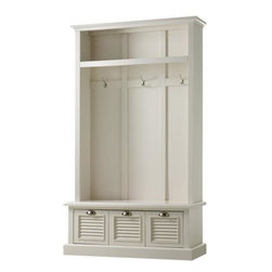 Shutter Locker Storage, Polar White - This piece has gorgeous classic style and looks like a built-in. I love the board and batten back and the handy drawers at the bottom. The upper storage can be used for seasonal or less-used items.