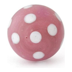 "Knobco - Polka Dotted Glass Knob, Pink Knob with White Polka Dots - Pink Knob with White Polka Dots glass knob. Unique glass knobs for your kitchen cabinets. 1"" in   diameter. Includes screws for installation."