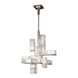 Fine Art Lamps - Perspectives Silver Chandelier, 732040-2GU - Imbue your favorite modern setting with welcome, glowing warmth. This unique geometric chandelier features either a golden bronze or muted silver finish and shimmering multitonal shades.