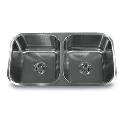 "Nantucket Sinks - Nantucket Sink ns5050 - 32"" Double equal Undermount Stainless Steel Kitchen Sink - Nantucket Sinks classic  undermount double equal bowl."