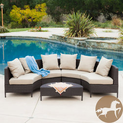 Christopher Knight Home - Christopher Knight Home Newton Outdoor 5-piece Dark Brown Wicker Lounge Set - There is nothing like enjoying the warm outdoors like having the comforts of the Newton 5-Piece lounge set. Constructed from multi-brown wicker, this set includes four round loveseat sofas that fit together to create a moon shaped lounge.