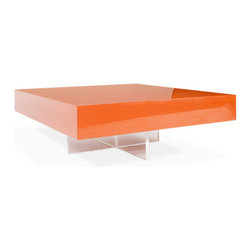 Lacquer Block Cocktail Table - When it comes to decor, one statement piece can totally make the room. We'd use this coffee table in between a pair of tufted, white leather couches for a fresh, modern feel.