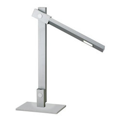 """Adesso - Adesso 3653 Reach Desk Lamp - Adesso 3653 Contemporary / Modern Reach Desk LampEach Reach lamp has a 7.2 Watt LED cluster covered by a magnifier bulb shield which widens the light cast by the lamp as well as intensifies the brightness. The shades rotate and the lamps adjust so that they can function for reading light, ambient light or even as wall washers. Each model is available in black with a red push-button switch or steel with a black push-button switch. A stationary post extends from the center of the flat rectangular base. This post holds the push-button on/off switch. The attached rectangular pole adjusts forward or backward about 30"""". The shade wand, which folds out from that pole extends from closed to about 95"""". The shade also rotates 360 degrees. Specifications: 19.75"""" Height. Base: 8.75"""" Wide x 5.5"""" Depth. Bulb lens: 2.25"""" Length x 1"""" Width.Adesso was established in 1994 based on the belief that there was an under-served niche among consumers who sought high-end, contemporary home products at moderate prices. Since then, Adesso has not only revolutionized the home industry with its innovative products, but also gained substantial recognition for its well-designed and well-priced lamps and RTA furniture. From the onset, when Adesso first introduced its lighting products, an array of colors and materials were utilized in the design, including metals, rice-paper, woven fabric, glass, resin, renewable bamboo wood and cork! These materials help make every Adesso product beautifully unique, adding a perfect touch to any home.Features:"""