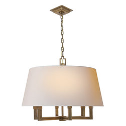 Square Tube Hanging Shade - For beautifully diffused light, a shaded candelabra is the perfect choice. Six 60-watt bulbs are surrounded by a natural paper shade and literally glow from within. Pick between antique brass or polished nickel hardware, and hang this classic fixture in your dining room or entryway.
