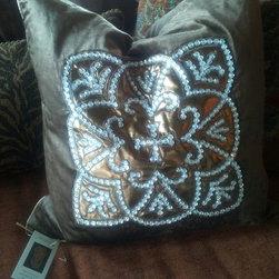 Brown / Chocolate Velvet Pillow with Rhinestone Cross Throw Pillow - Chocolate Velvet Pillow with Rhinestone Cross