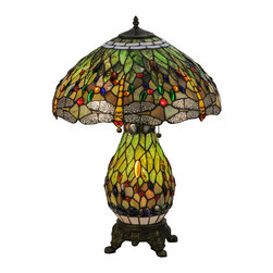 Meyda Tiffany - Meyda Tiffany Hanginghead Dragonfly Lighted Base Table Lamp X-548811 - The warm tones of the oranges compliment the cool green hues, creating an eye-catching look to this Meyda Tiffany dragonfly table lamp. From the Hanginghead Collection, this table lamp also features a lighted base. The entire body features a repeating dragonfly pattern that draws the eye in, dazzling and delighting.
