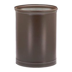 Kraftware - Stitched Wastebasket in Chocolate - Silver basket. Made in USA. 10 in. Dia. x 12 in. H (1.5 lbs.)Traditional, Elegant, Sophisticated, but still Casual in Design. Grant signature Home means Quality and Made in the U.S.A. Excellence.