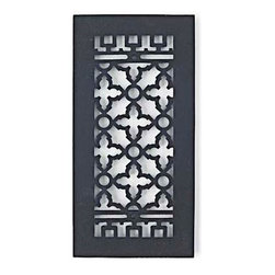 "Scroll Vent Cover, Black, 10x4, Scroll - All our metal grilles and registers are made of iron, brass, aluminum or steel at least 3/16"" thick. They are beautiful and guaranteed to last a lifetime. Available in traditional scroll design or more contemporary square design as well as round for high velocity systems. Our grilles will turn eyesores into assets that enhance the appearance and value of your home."