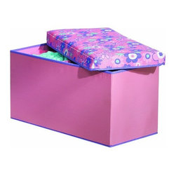 Home Products - Knockdown Storage Bench by HOMZ - Our HOMZ Small Knock Down Storage Bench with Floral Lid and pink base can be used as a dual purpose bench for storage as well as seating.