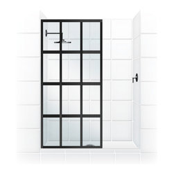 "Coastal Shower Doors - Coastal Gridscape Series Multi-Pane ""Windowpane"" Shower Doors, 31"" Width X 76"" H - GRIDSCAPE(TM) Shower Doors"