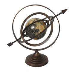 ecWorld - Armillary Sphere World Globe Table and Studio Decor - The classic beauty of this Armillary Sphere is ideal to add a touch of class to any room decor. The celestial instrument combines the concept of time, history, and the changing universe into one element. It is composed of rings that represent the principal circles of the celestial sphere. Makes a delightful accent in your home or office.
