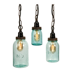 iMax - Lexington Mason Jar Pendant Lights, Set of 3 - Green tinted bubble glass highlights the mason jar shape which is accented with numbers. This set of three pendants make a home for the vintage-style Edison bulbs they protect.