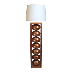 "Stephanie Nichols Studio - Ceres Copper Floor Lamp - The Ceres Copper Floor Lamp is a mahogany base and frame with brilliantly glazed copper ceramic spheres. The lamp is fitted with a dark bronze 3 way rotary turn knob and harp, all parts UL approved.  It is rated a maximum 250w/250v. However we recommend using a 3 way bulb or single 60w (bulb not included). Comes with a hardback linen shade. Shade size: top 16"" x 18"" bottom x 13"" tall."