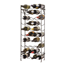 "Oenophilia - The Alexander Wine Rack - 40 Bottle - Wheather you are stocking a cellar furnishing a kitchen or making good use of a tucked away nook youll be sure to exclaim ""This rack is just right!"" Both styles fold flat for shipping and mount to the wall for stability. Wrought iron.40 Bottle- 15""w x 8""d x 39.5""h60 Bottle - 22.5""w x 8""d x 39.5""h"