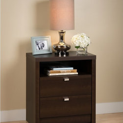 Prepac Manufacturing Ltd - Prepac Series 9 Designer 2-Drawer Tall Nightstand - Espresso Dark Brown - EDNH-0 - Shop for Nightstands from Hayneedle.com! Functional and stylish the Prepac Series 9 Designer 2-Drawer Tall Nightstand - Espresso is the ideal bedside companion. This nightstand has sleek contemporary lines an open cubby and two spacious drawers. The drawers run on smooth metal glides have built-in safety stops and feature chromed metal pulls. The open cubby and generous top are perfect for keeping nighttime essentials close by. This tall nightstand is made of CARB-compliant wood composite with a rich espresso finish.About Prepac ManufacturingPrepac is a successful designer and manufacturer of functional and stylish RTA (ready to assemble) home furniture. They have been manufacturing state-of-the-art home furnishings and storage products in the heart of the forest-rich West Coast since 1979.