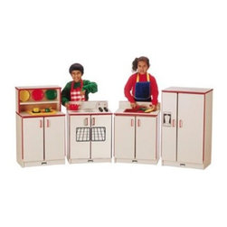 Jonti-Craft Rainbow Accents Play Kitchen 4 Piece Set - The Rainbow Accents Play Kitchen takes a classically designed play kitchen design and adds the imagination stimulating element of bright color to attract your toddler. This four-piece set includes all the essentials for a make-believe kitchen that will keep your child entertained with creative fun for hours. A refrigerator unit lets your child store imaginary staples or accessories and a range with four play burners with dial controls lets them whip up pretend meals. This set also includes a turntable wooden faucet on the sink with a pull out wooden sprayer for clean up fun and cupboard to help them organize dishes and utensils. Choose from among several colors to stimulate your child's creativity and get them started with some constructive fun. Order one for your toddler right away.