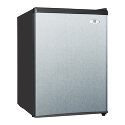 SPT - SPT Energy Star 2.4 cu.ft. Stainless Steel Compact Refrigerator - Flush back, compact design is ideal for college dorm room or office, perfect for counter-top placement. Reversible doors offer versatility. Features tall bottle door rack, 7-inch wide freezer compartment and adjustable thermostat.