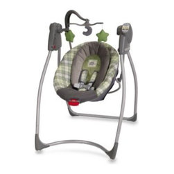 Graco - Graco Comfy Cove LX Swing in Roman - This comfortable infant swing, with a deep, cozy seat to cradle your little one, features six swing speeds, a 3-position reclining seat, and 15 songs and sounds.