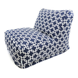 Majestic Home - Indoor Navy Blue Links Bean Bag Chair Lounger - The beanbag is back — and now it's got a back, so you can really relax in style. Beyond comfort, this lounger has a cool chain pattern on cotton twill to look fabulous in your favorite modern setting.