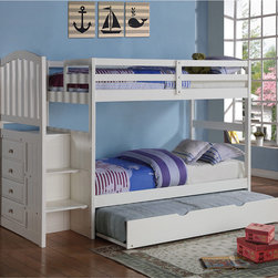 Donco Kids - Arch Mission Twin Stairway Bunk Bed with Twin Trundle Bed - Create the perfect sleepover-ready bedroom with this modern, clean white bunk bed set. This bunk bed features a unique staircase design instead of a ladder, making it easier for any child to reach the top bunk safely.