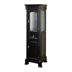 Bellaterra Home - Linen cabinet-wood-espresso - Reminiscent of a Swiss Grandfather clock and crafted with the same meticulous attention to detail, this Linen tower cabinet is an exquisite complement to a bathroom vanity. The clear glass of the upper door allows for subtle interior colors to show through creating a delightful tempering effect.