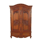 MBW Furniture - Solid Mahogany French TV Entertainment Armoire - Solid Mahogany Construction