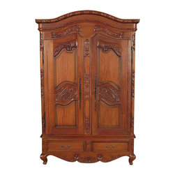 Solid Mahogany French TV Entertainment Armoire - Solid Mahogany Construction
