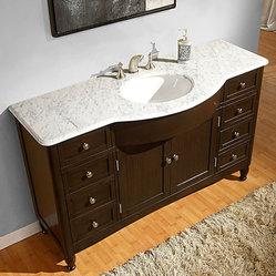 58-inch Carrara White Marble Bathroom Vanity - This pretty bathroom ...
