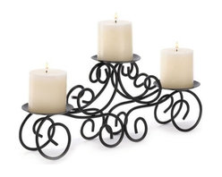 Malibu Creations - Wrought Iron Triple Scroll Style Candle Stand - Tuscany Wrought Iron Scroll Style Trio Candle Stand