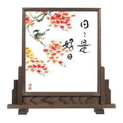 Cedar Wood Wall Hanging Stand - Wooden Japanese Wall Hanging for those who would like to try out Japanese art in a casual manner.  It is also great for those who are already into Japanese art and would like to decorate small space of your wall.
