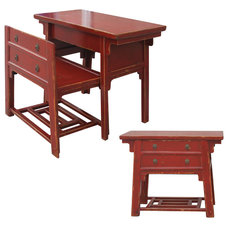 Asian Desks And Hutches Chinese Desk With Hidden Stool-Red
