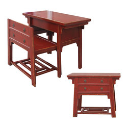 Four Hands - Chinese Desk With Hidden Stool, Red - Like a look inside the Forbidden City, this piece has a secret. It's an antique-inspired, distressed, red lacquer chest on the outside. But coax the front off and it becomes a stool and table at the ready to pay bills, put on your makeup or check email.