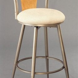 Hillsdale Furniture - London Swivel Counter Stool (24 in.) - Choose Seat Height: 24 in.For residential use. Champagne Finish: silver base with powder coat finish that gives a slightgold overtone. With light Birch back accent set against a champagne finish, the London stool is refreshing yet elegant. The stools have contoured legs with ivory fabric seats and swivel 360 degrees. The London stool is the height of refined modern style. Seat Height: 24 in.. 17 in. W x 17.5 in. D x 38.5 in. H