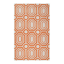Surya - Surya Hudson Park Rug Golden Ochre - Geometric panache equates high style on the contemporary Hudson Park rug. Against a neutral background, the plush Surya floor covering's orange graphic pattern grounds living rooms with textured allure. Golden orange and winter white. Hand tufted. 100% polyester. Available in several sizes. Rug pad recommended. Spot clean with lukewarm water or a wool cleaning liquid.