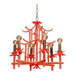Red Pagoda Chandelier - I love the semigloss finish on this pagoda chandelier from the Atlanta retailer Pieces. It would steal the show in any space.