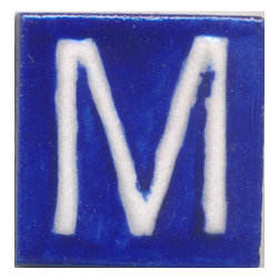 """Knobco - Ceramic Tile 2x2, M - White M alphabet blue tile from Jaipur, India. Unique, hand painted  tiles for your kitchen or other tiling project. Tile is 2x2"""" in size."""